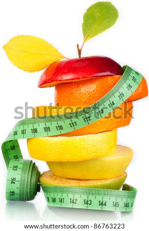 Fruit and measurement. A figure. A food. - stock photo