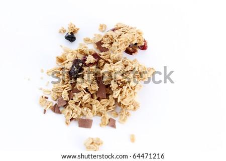 Fruit and nut granola mix on white background - stock photo