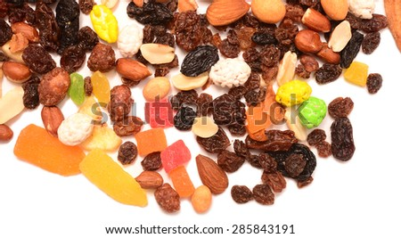fruit and nut mix isolated on a white background
