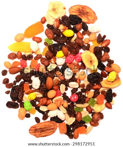 fruit and nut mix isolated on a white background - stock photo