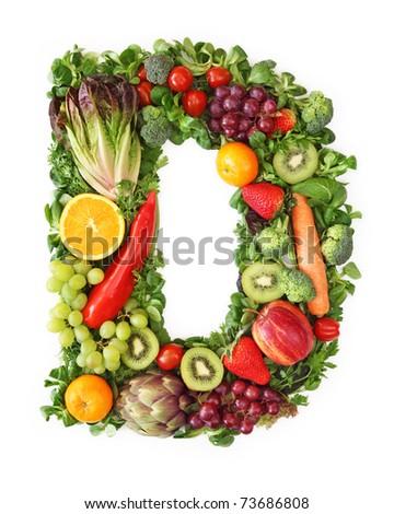 Fruit and vegetable alphabet - letter D - stock photo