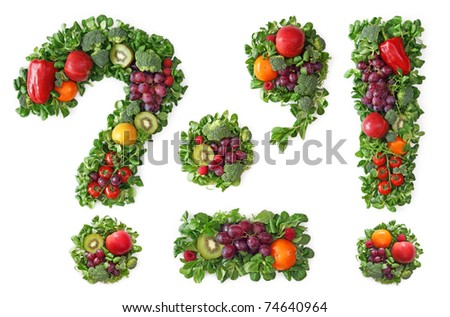 Fruit and vegetable alphabet - Punctuation - stock photo