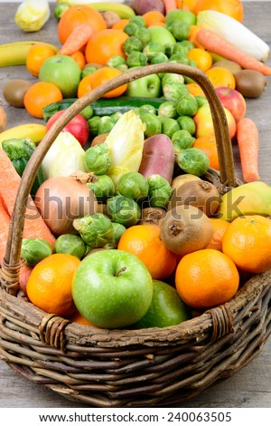 fruit and vegetable basket on the wooden table