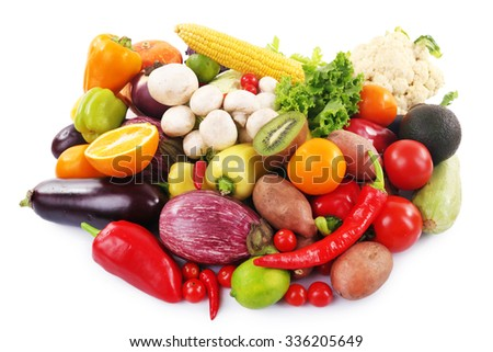 Fruit and vegetable collection on white background - stock photo