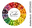 fruit and vegetable color wheel (12 colors) - stock photo