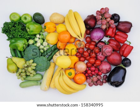 Fruit and vegetable healthy tricolor  - stock photo