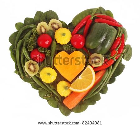 Fruit and Vegetable heart shape - stock photo