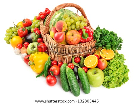 fruit and vegetable in basket isolated on white background - stock photo