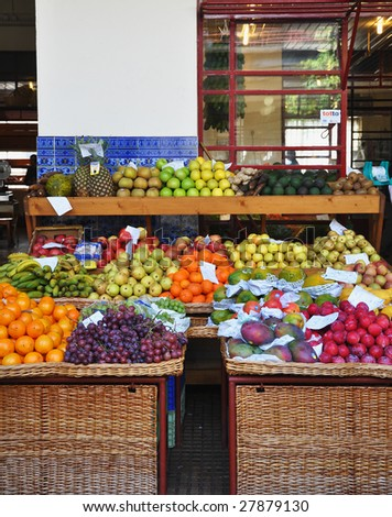 Fruit and vegetable market - stock photo