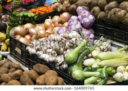 Fruit and Vegetable market; colourful display of fruit and vegetables  - stock photo