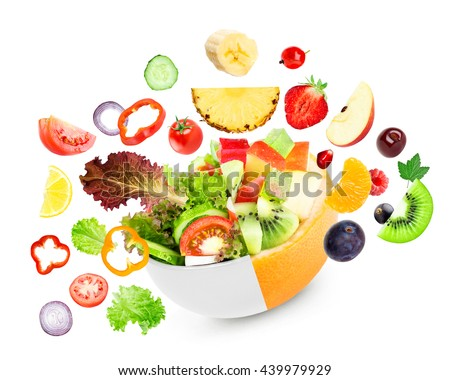 Fruit and vegetable. Mixed salad. Food concept