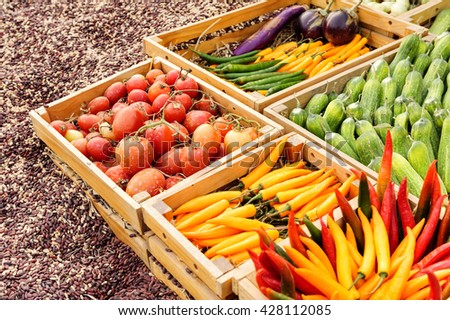 Fruit and vegetable promotion : Chilli ,Tomato , Cucumber , Nut - stock photo