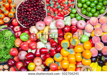 Fruit and Vegetable ripe colorful in market.