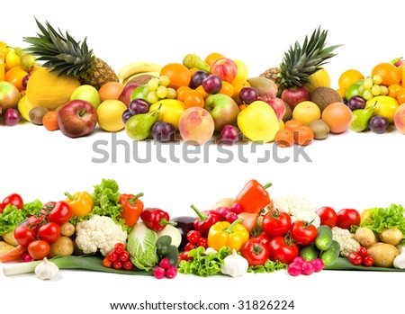 Fruit and vegetable selections - stock photo