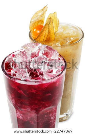 Fruit and Vegetable Smoothie Isolated on White Background - stock photo