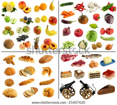 fruit and vegetable studio isolated over white - stock photo