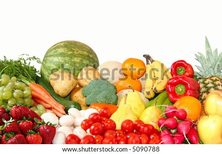 Fruit and vegetable variety - stock photo
