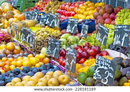 Fruit and vegetables at a farmers market  - stock photo