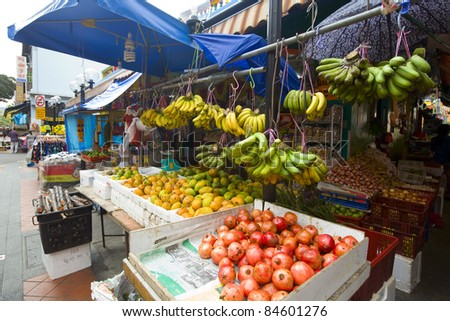 fruit and vegetables at a market stall - stock photo