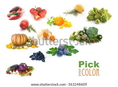 Fruit and vegetables color rainbow.  - stock photo