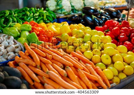 Fruit and vegetables farmers market - stock photo