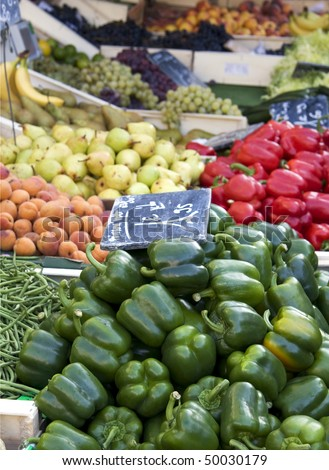 Fruit and vegetables for sale at a French market