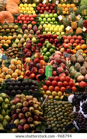 fruit and vegetables on a stand on the Boqueria market in Barcelona: