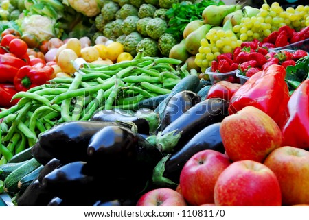 Fruit and vegetables on Boqueria market in Barcelona - stock photo