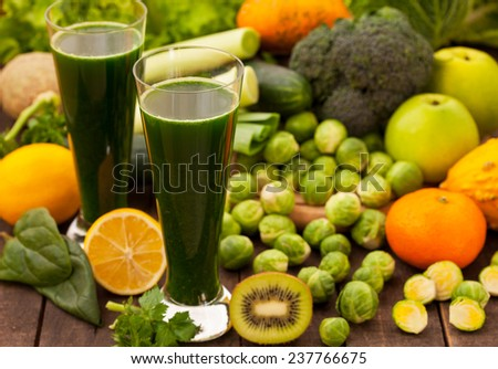 Fruit and vegetables smoothie - stock photo