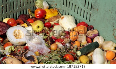 fruit and vegetables to throw used as manure on the farm - stock photo