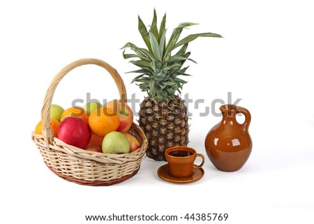 Fruit and young red wine, good ornament of a table - stock photo