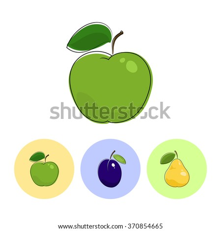 Fruit Apple  on White Background , Set of Three Round Colorful Icons  Apple,  Plum and Pear - stock photo