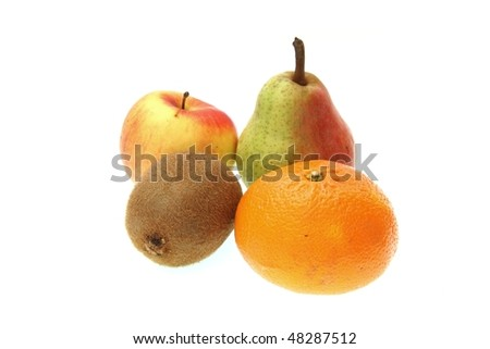 Fruit - apple, pear, kiwi, orange - isolated on white