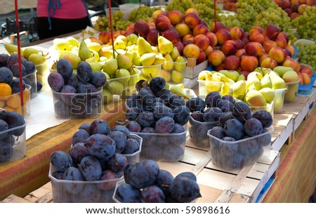 fruit at a market stall - stock photo