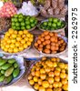 Fruit at Market Stall, Dam Dek, Cambodia - stock photo