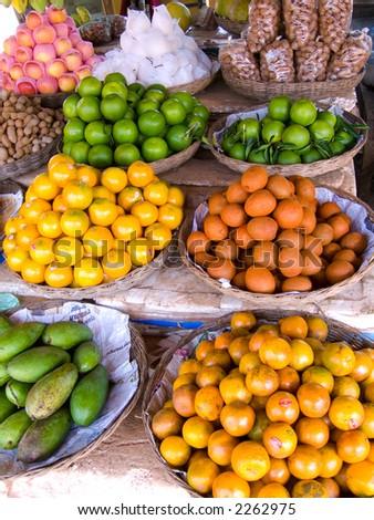 Fruit at Market Stall, Dam Dek, Cambodia - stock photo