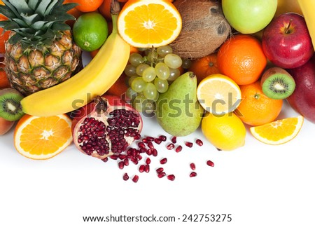 Fruit background from up isolated - stock photo