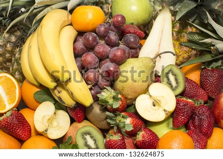 fruit background with fresh fruit - stock photo