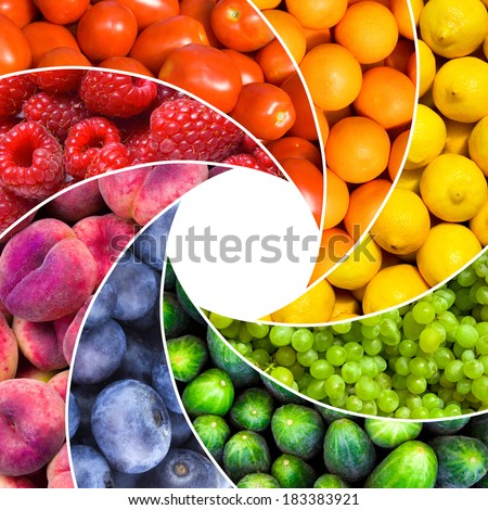 fruit backgrounds as an aperture shutter - healthy eating concept - stock photo