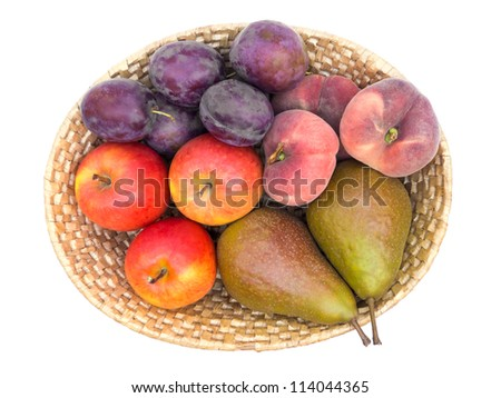Fruit basket top view isolated on white with clipping path - stock photo