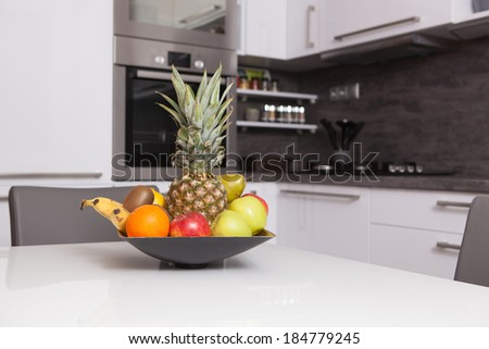 fruit bowl in a kitchen - stock photo