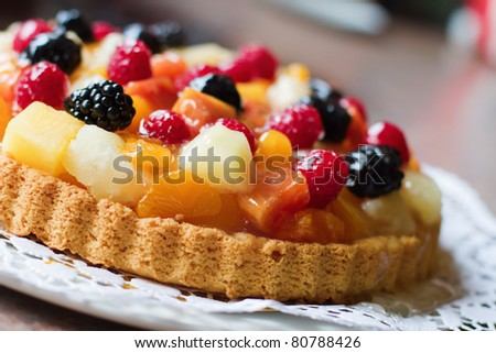 fruit cake with berries and other fruits - stock photo