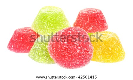 Fruit candy on a white background.