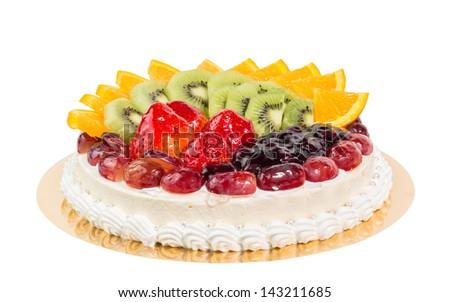 fruit cheese cake isolated on white - stock photo