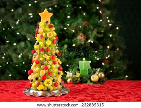 Fruit Christmas tree - stock photo