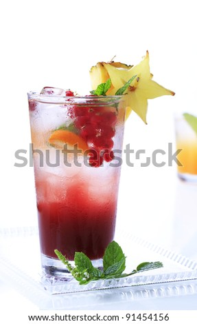 Fruit cocktail drink  - stock photo