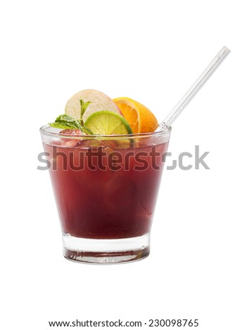 Fruit cocktail isolated - stock photo