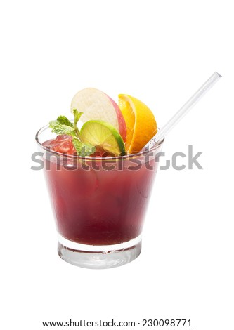 Fruit cocktail isolated