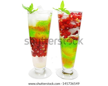 fruit cocktails smoothie with wild strawberry