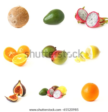 fruit collage made of nine fotographs - stock photo
